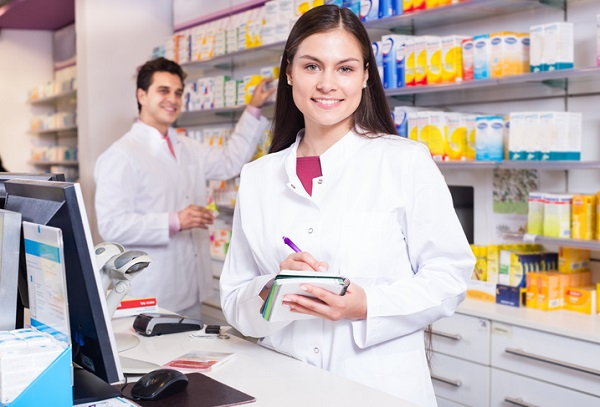 People working in a pharmacy