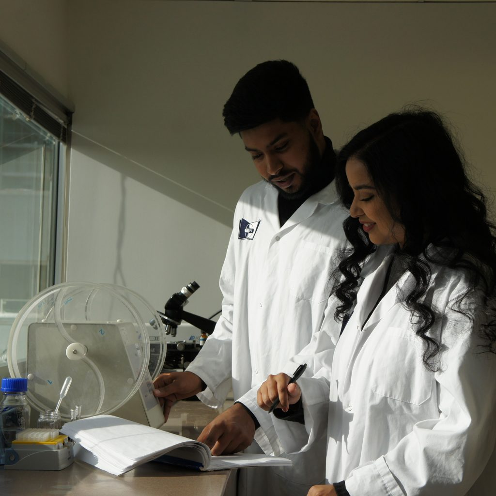 Students studying for the quality control analysit program